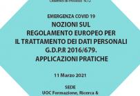 Corso RES – EMERGENZA COVID 19 NOZIONI SUL REGOLAMENTO EUROPEO PER IL TRATTAMENTO DEI DATI PERSONALI G.D.P.R 2016/679. APPLICAZIONI PRATICHE Ed. 11 Mar. – ISCRIZIONI APERTE -