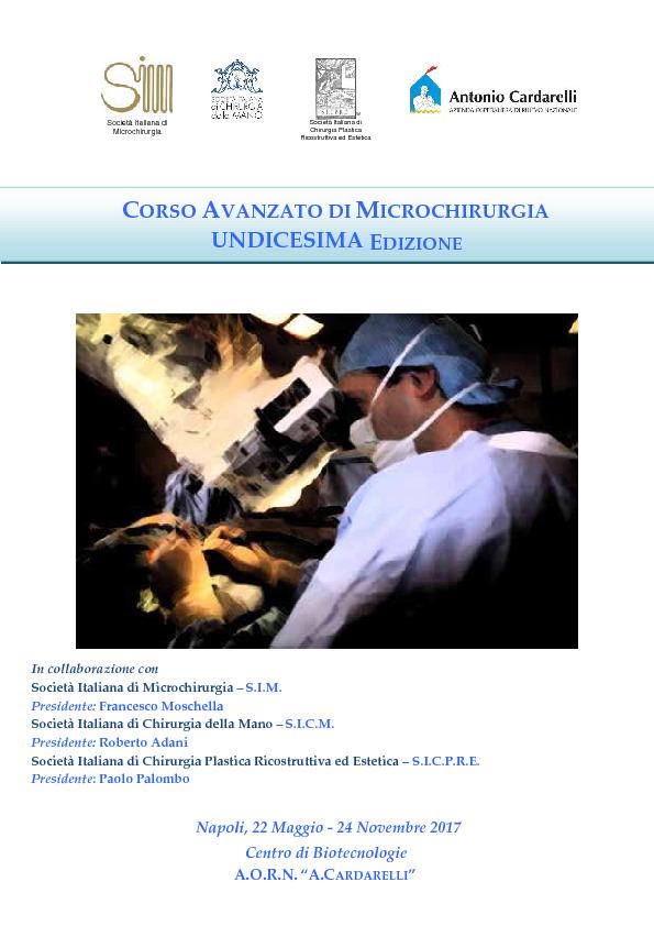 Corso Avanzato di Microchirurgia Undicesima Edizione