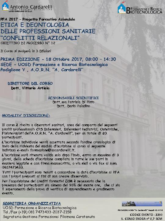 """ETICA E DEONTOLOGIA DELLE PROFESSIONI SANITARIE """"CONFLITTI RELAZIONALI"""""""