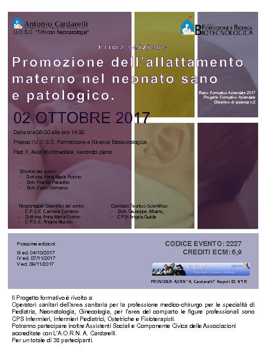 Promozione dell'allattamento materno nel neonato sano e patologico - PFA 2017-