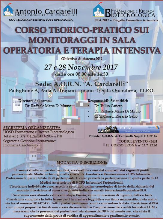 CORSO TEORICO-PRATICO SUI MONITORAGGI IN SALA OPERATORIA E TERAPIA INTENSIVA - PFA 2017