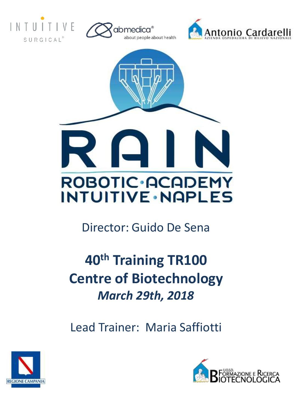 RAIN – Robotic Academy Intuitive Naples – 40th Training TR100