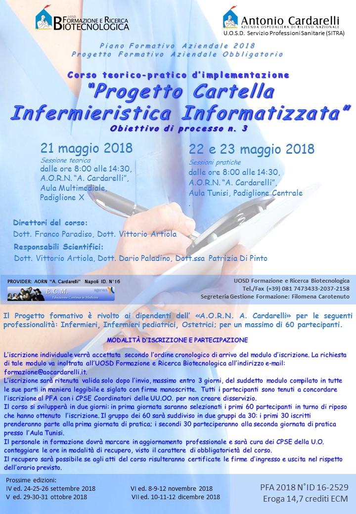 """Corso teorico-pratico d'implementazione """"Progetto Cartella Infermieristica Informatizzata"""" -"""