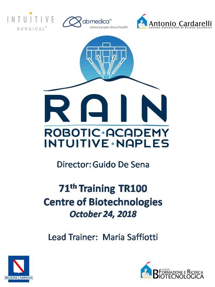 RAIN - Robotic Academy Intuitive Naples - 71th Training TR100