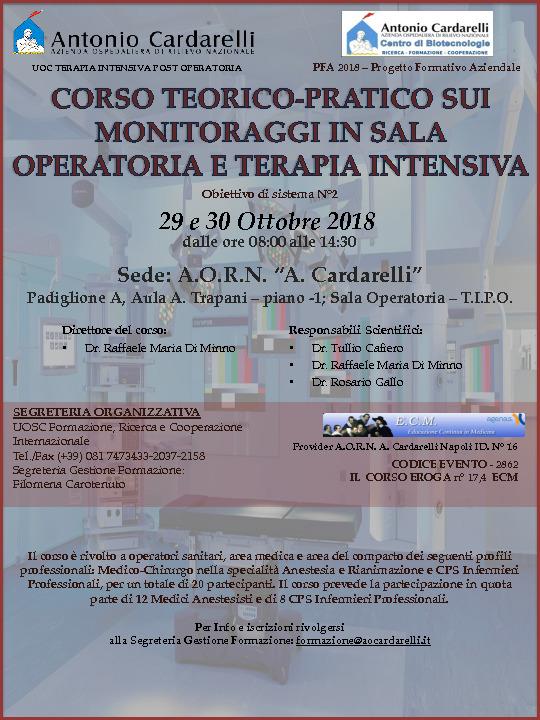 Corso Teorico- Pratico sui Monitoraggi in Sala Operatoria e Terapia Intensiva
