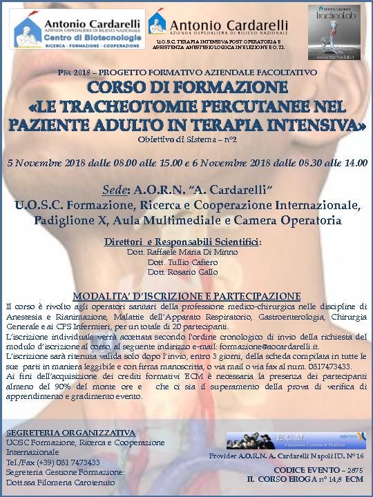 Le Tracheotomie Percutanee nel Paziente Adulto in Terapia Intensiva