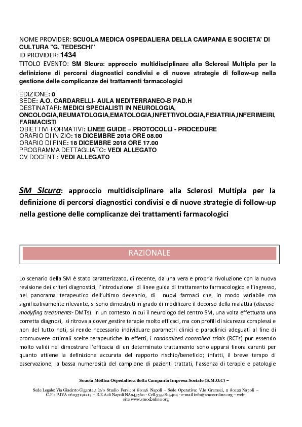 SM SIcura: approccio multidisciplinare alla Sclerosi Multipla
