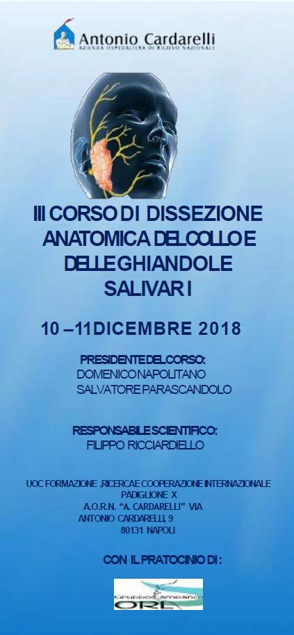 III CORSO DI DISSEZIONE ANATOMICA DEL COLLO E DELLE GHIANDOLE SALIVALI