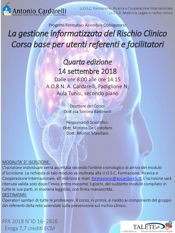 La gestione informatizzata del Rischio Clinico - Corso base per utenti referenti e facilitatori
