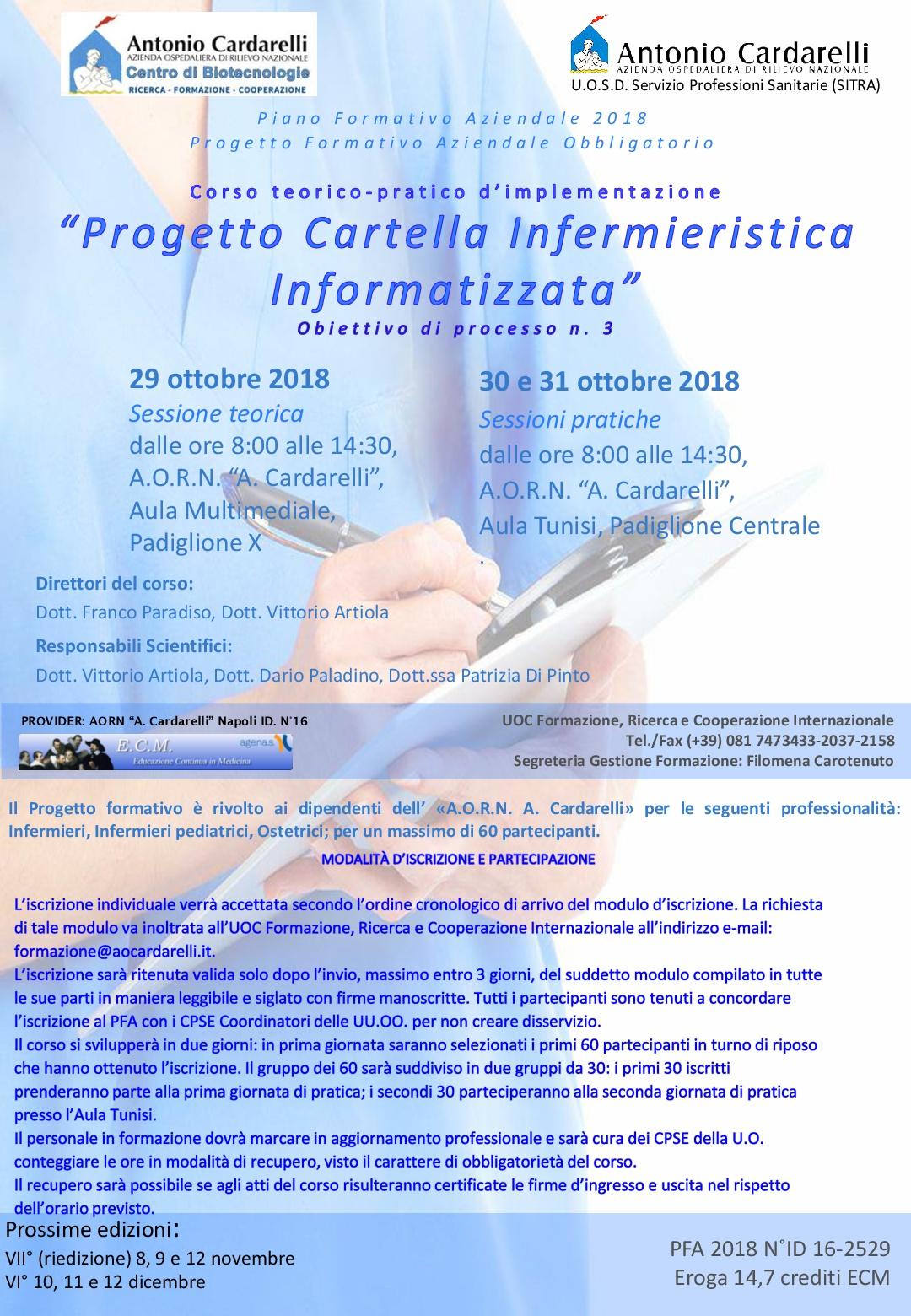 """Corso teorico-pratico d'implementazione """"Progetto Cartella Infermieristica Informatizzata"""""""