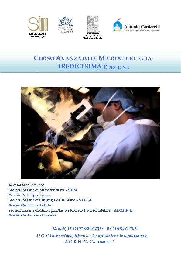 CORSO AVANZATO DI MICROCHIRURGIA  - TREDICESIMA EDIZIONE
