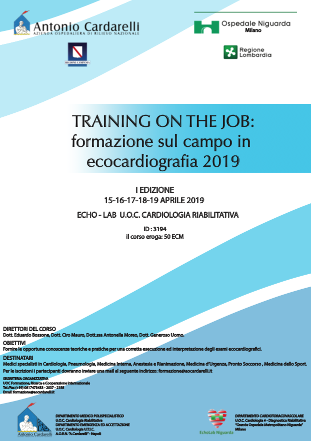 TRAINING ON THE JOB: formazione sul campo in ecocardiografia 2019