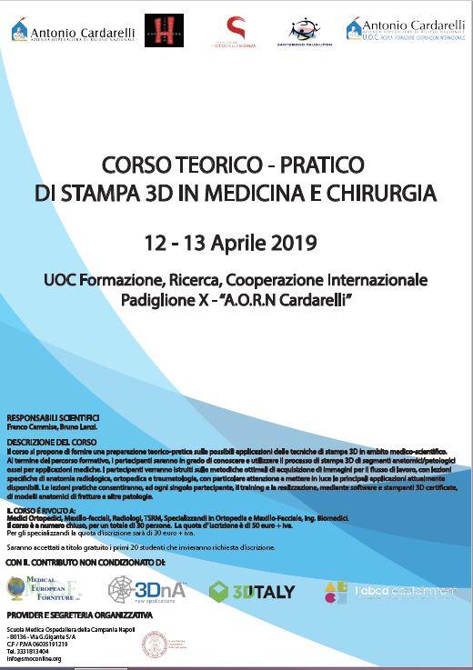 Corso Teorico-Pratico di Stampa 3D in Medicina e Chirurgia