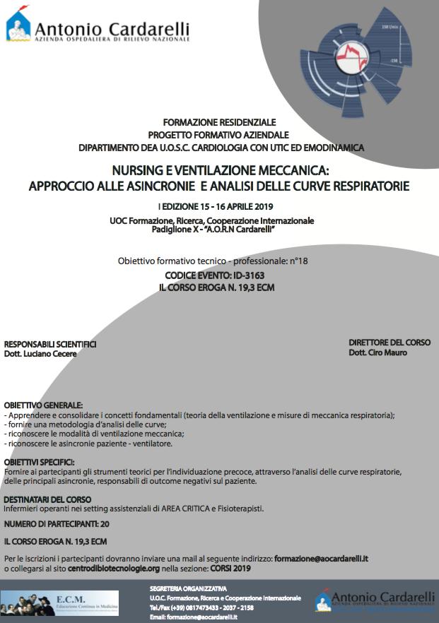Nursing e ventilazione meccanica: approccio alle asincronie e analisi della curve respiratorie - ISCRIZIONI CHIUSE -