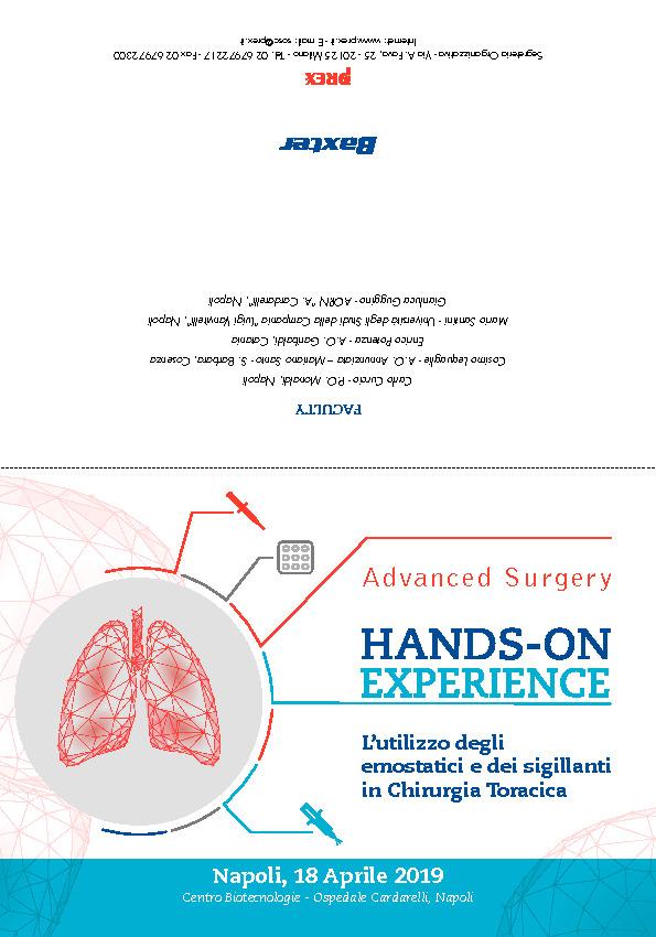 Hands‐on Experience - L'utilizzo degli emostatici e dei sigillanti in Chirurgia Toracica
