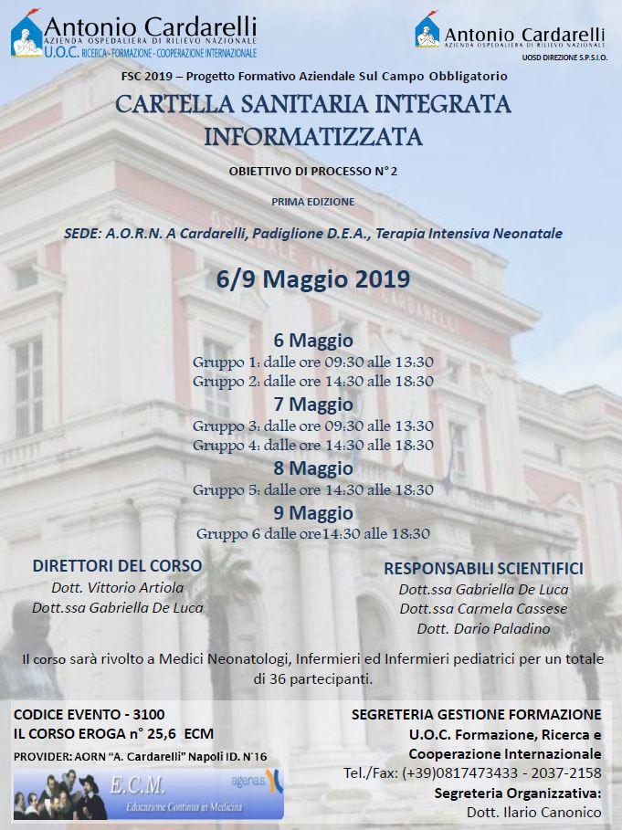 CARTELLA SANITARIA INTEGRATA INFORMATIZZATA - CORSO EROGATO -