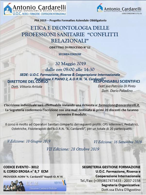 """ETICA E DEONTOLOGIADELLE PROFESSIONISANITARIE """"CONFLITTIRELAZIONALI"""" - CORSO EROGATO -"""