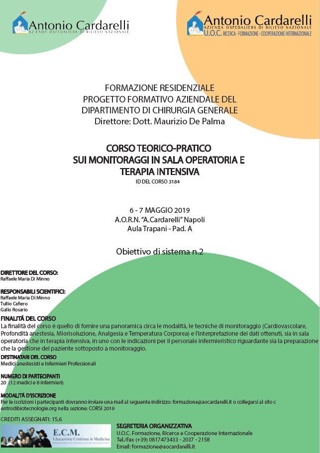 Corso Teorico - Pratico sui monitoraggi in sala operatoria e terapia intensiva - CORSO EROGATO -