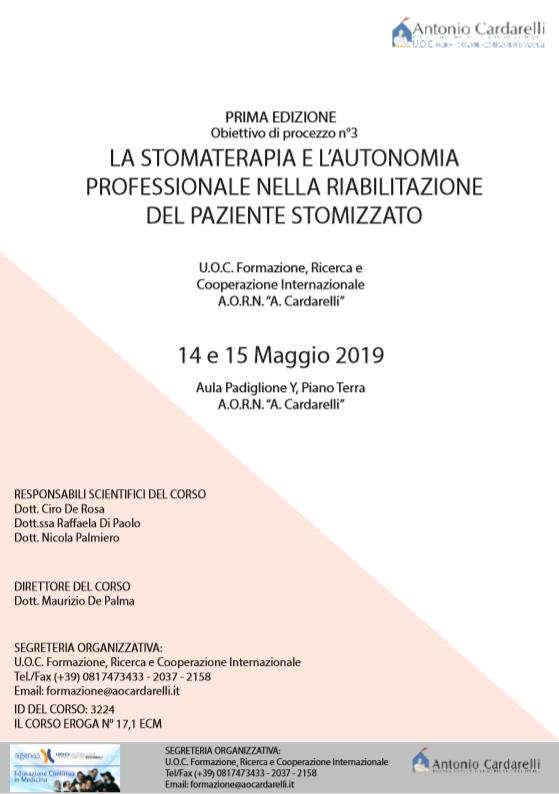 LA STOMATERAPIA E L'AUTONOMIA PROFESSIONALE NELLA RIABILITAZIONE DEL PAZIENTE STOMIZZATO - CORSO EROGATO -