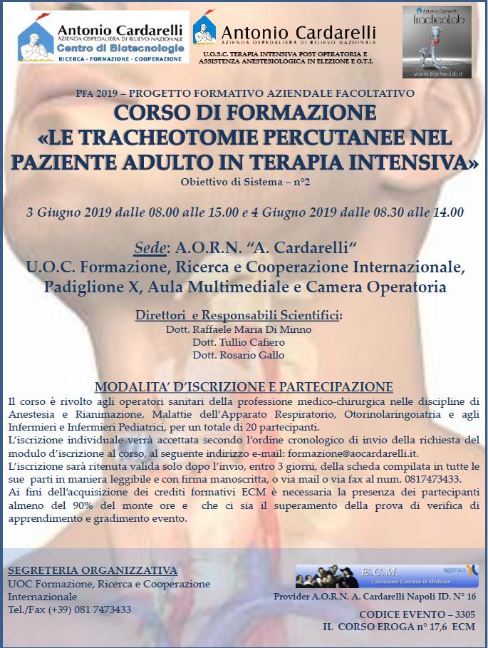 Le Tracheotomie Percutanee nel Paziente Adulto in Terapia Intensiva - CORSO EROGATO