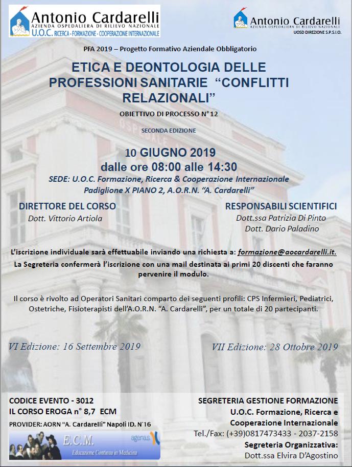 """Etica e Deontologia delle Professioni Sanitarie """"Conflitti Relazionali"""" - CORSO EROGATO"""