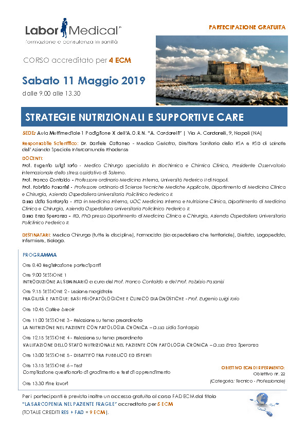 STRATEGIE NUTRIZIONALI E SUPPORTIVE CARE