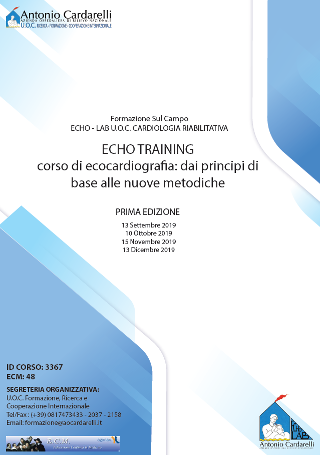ECHO TRAINING - Corso di ecocardiografia: dai principi di base alle nuove metodiche - ISCRIZIONI CHIUSE