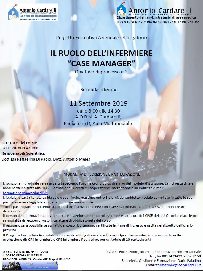 """Il Ruolo Dell'Infermiere """"CASE MANAGER"""" - CORSO EROGATO-"""
