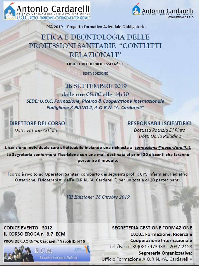 """Etica e Deontologia delle Professioni Sanitarie """"Conflitti Relazionali"""" - CORSO EROGATO -"""
