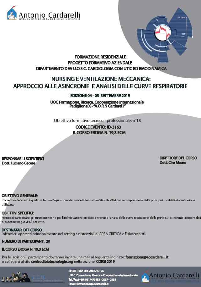 NURSING E VENTILAZIONE MECCANICA: APPROCCIO ALLE ASINCRONIE E ANALISI DELLE CURVE RESPIRATORIE - ISCRIZIONI CHIUSE -