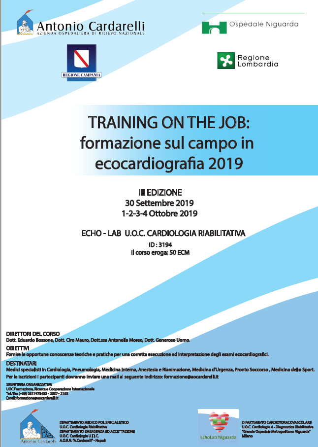 TRAINING ON THE JOB: formazione sul campo in ecocardiografia 2019 - ISCRIZIONI CHIUSE