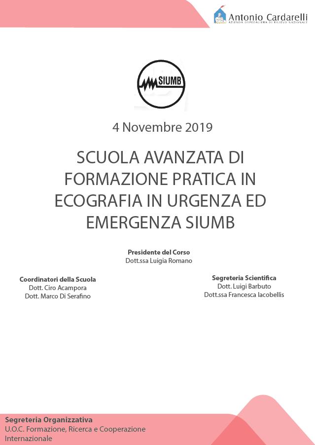 PRESENTAZIONE Scuola Avanzata di Formazione Pratica in Ecografia in Urgenza ed Emergenza SIUMB