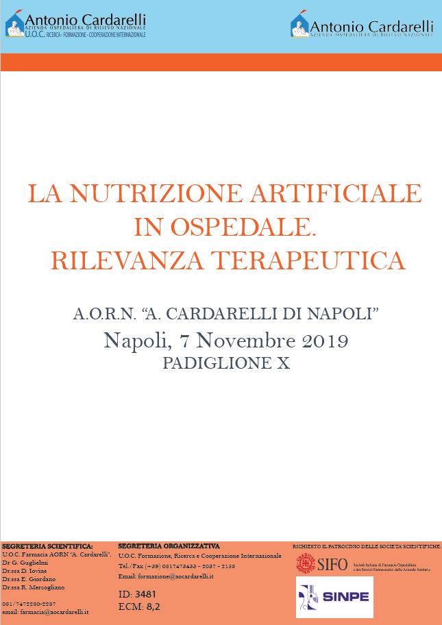 LA NUTRIZIONE ARTIFICIALE  IN OSPEDALE.  RILEVANZA TERAPEUTICA - ISCRIZIONI CHIUSE -