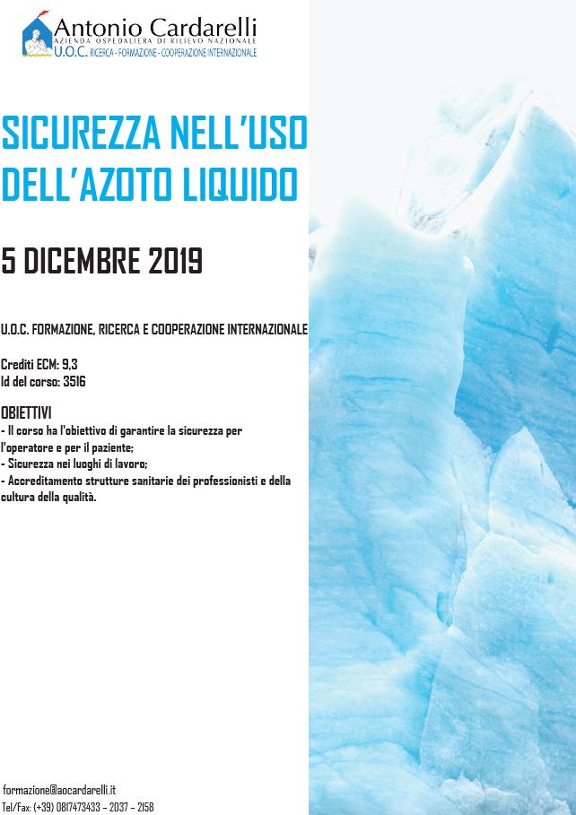 SICUREZZA NELL'USO DELL'AZOTO LIQUIDO - ISCRIZIONI CHIUSE