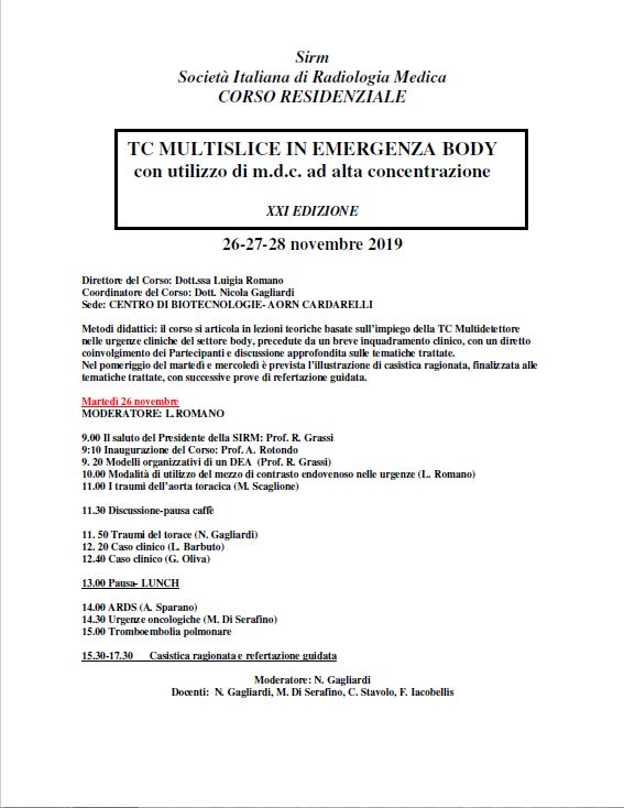 TC MULTISLICE IN EMERGENZA BODY con utilizzo di m.d.c. ad alta concentrazione - XXI Edizione