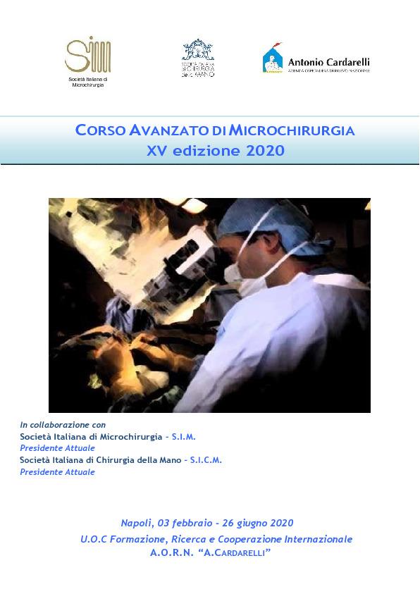 CORSO AVANZATO DIMICROCHIRURGIA - XV edizione 2020