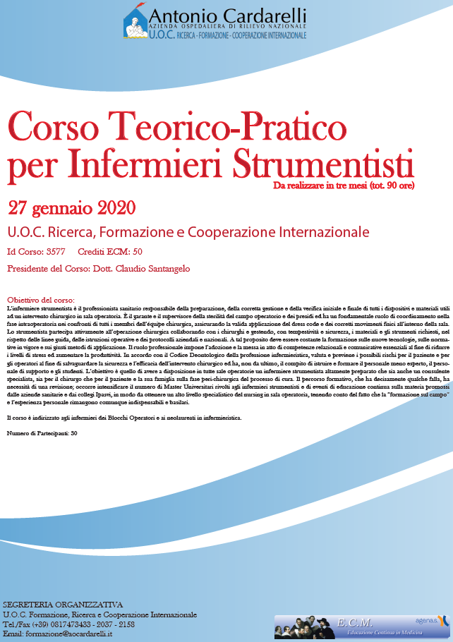 Corso Teorico-Pratico  per Infermieri Strumentisti - ISCRIZIONI CHIUSE