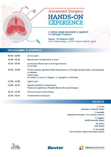Advanced Surgery Hands-On Experience - L'utilizzo degli emostatici e sigillanti in Chirurgia Toracica