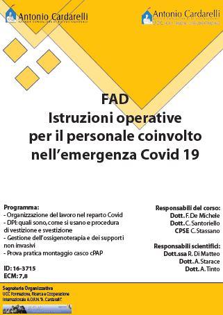Corso FAD - Istruzioni operative per il personale coinvolto nell'emergenza Covid 19