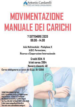 Corso RES - MOVIMENTAZIONE MANUALE DEI CARICHI - ISCRIZIONI CHIUSE -