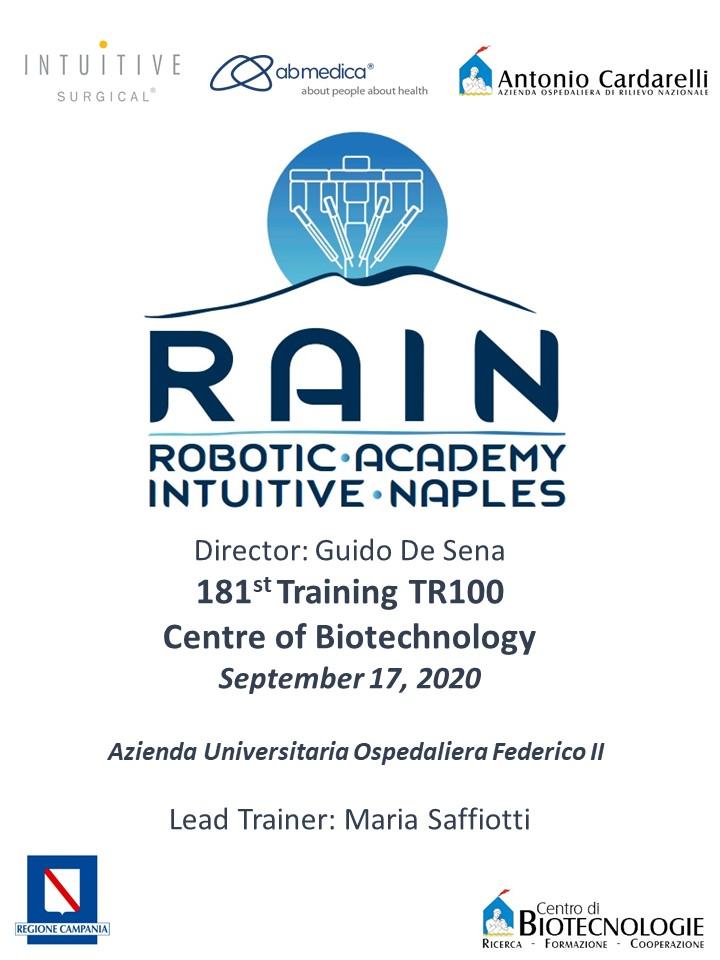 RAIN - Robotic Academy Intuitive Naples - 181st Training TR100