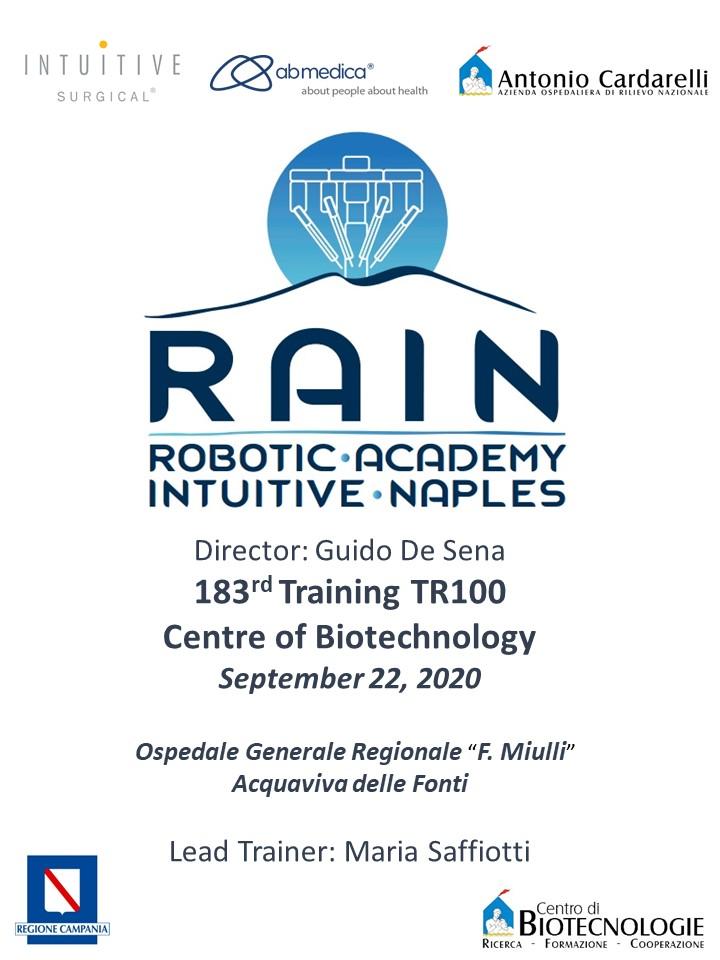 RAIN - Robotic Academy Intuitive Naples - 183rd Training TR100
