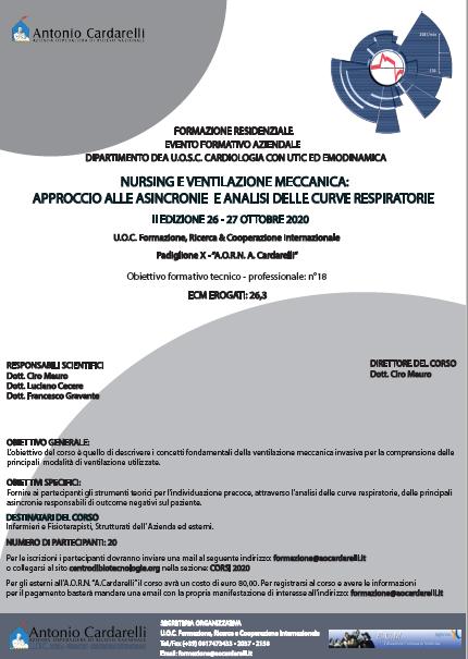 Corso RES - NURSING E VENTILAZIONE MECCANICA: APPROCCIO ALLE ASINCRONIE E ANALISI DELLE CURVE RESPIRATORIE - CORSO ANNULLATO -