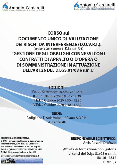 Corso RES - DOCUMENTO UNICO DI VALUTAZIONE DEI RISCHI DA INTERFERENZE (D.U.V.R.I.) - ISCRIZIONI CHIUSE -