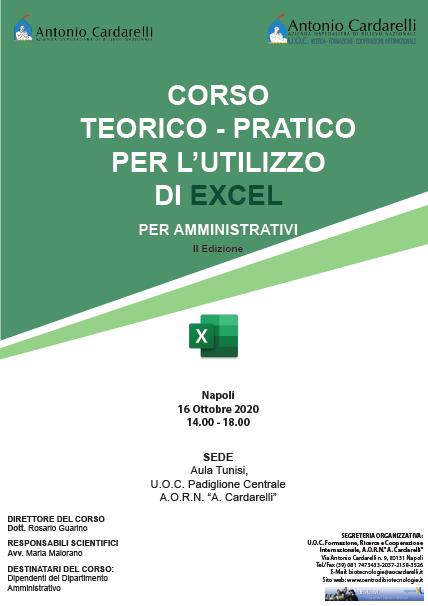 CORSO TEORICO - PRATICO PER L'UTILIZZO DI EXCEL PER AMMINISTRATIVI II Ed. - ISCRIZIONI CHIUSE -
