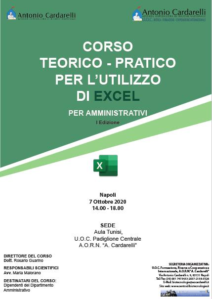 CORSO TEORICO - PRATICO PER L'UTILIZZO DI EXCEL PER AMMINISTRATIVI I Ed. - ISCRIZIONI CHIUSE -