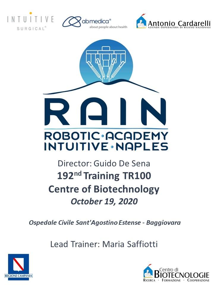 RAIN - Robotic Academy Intuitive Naples - 192nd Training TR100
