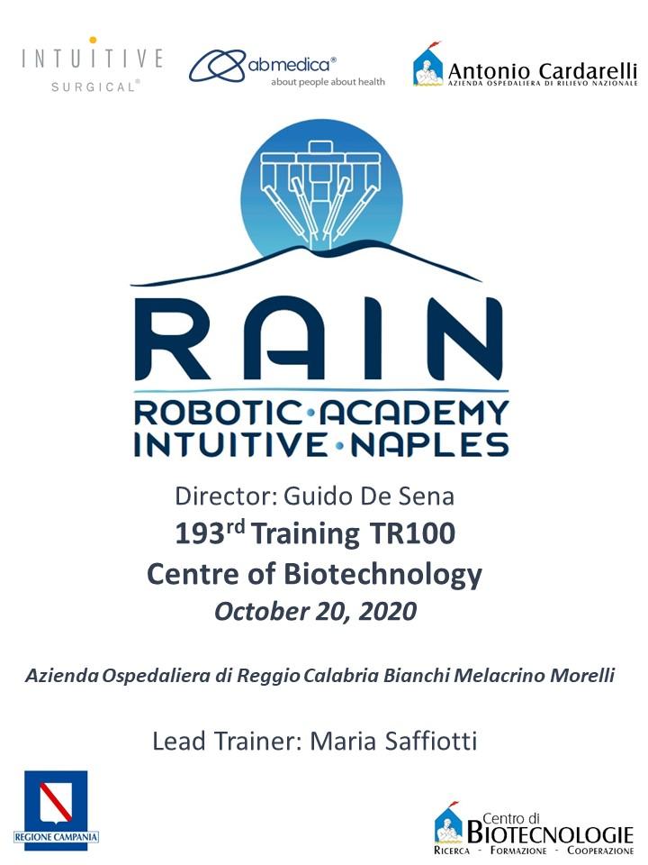 RAIN - Robotic Academy Intuitive Naples - 193rd Training TR100