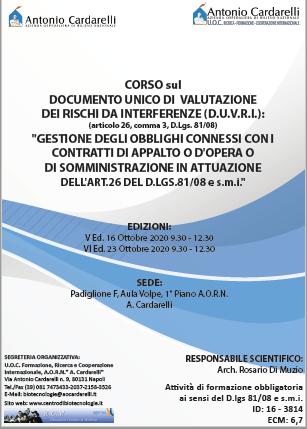 Corso RES – DOCUMENTO UNICO DI VALUTAZIONE DEI RISCHI DA INTERFERENZE (D.U.V.R.I.) Ed. V e VI – ISCRIZIONI CHIUSE -