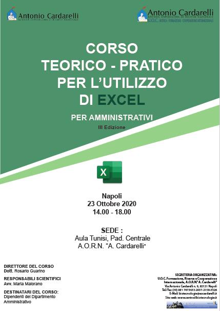 Corso RES - CORSO TEORICO - PRATICO PER L'UTILIZZO DI EXCEL PER AMMINISTRATIVI III Ed. - CORSO ANNULLATO -